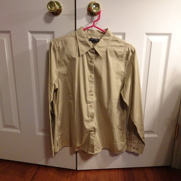 Lands End Women's Khaki Long Sleeve Blouse M10-12